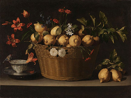 Juan de Zurbarán, 'Still Life with Lemons in a Wicker Basket', about 1643–49