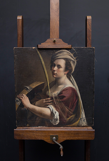 Artemisia Gentileschi's 'Self Portrait as Saint Catherine of Alexandria' in the Conservation Department at the National Gallery