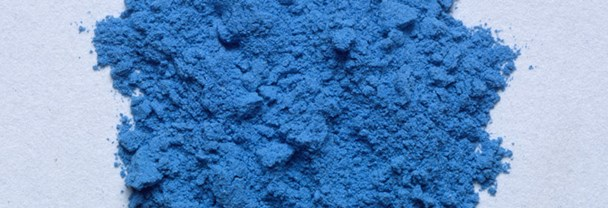 A photograph of ground blue pigment