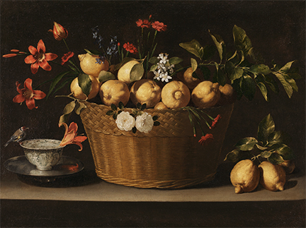 Detail from Juan de Zurbarán, Still Life with Lemons in a Wicker Basket, about 1643-9