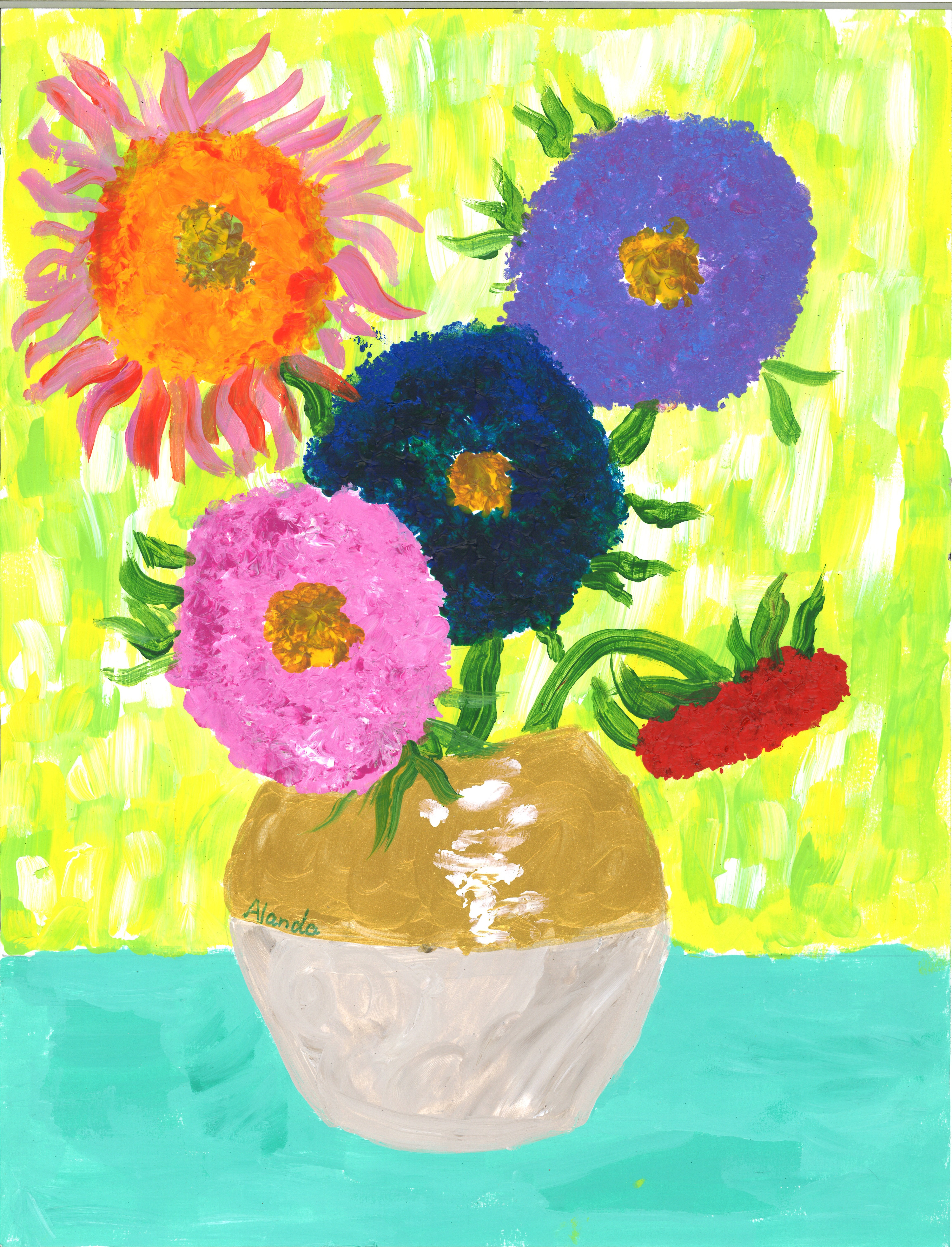 Alanda, aged 9, inspired by Vincent van Gogh, 'Sunflowers'