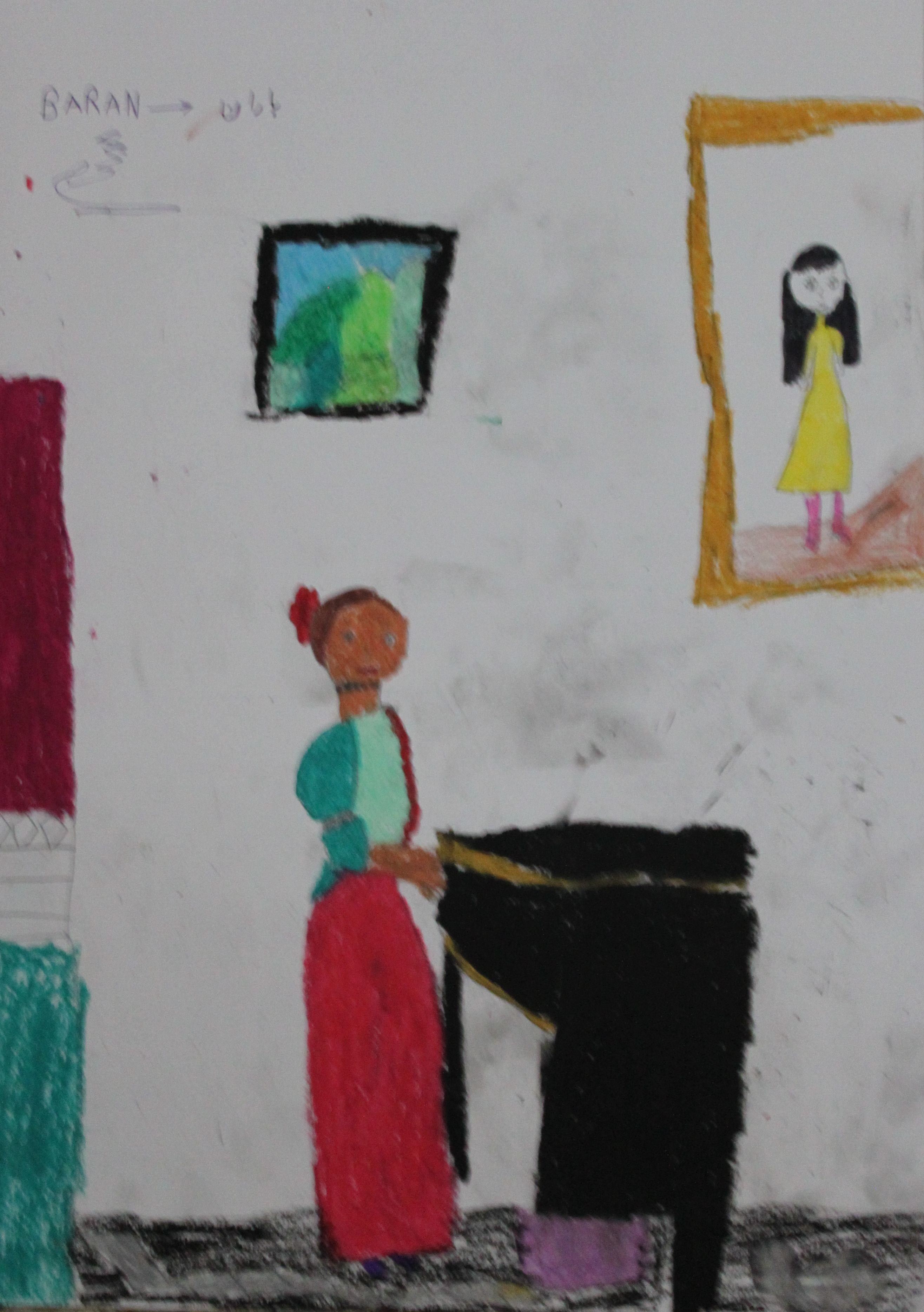 Baran, aged 11, inspired by Johannes Vermeer, 'A Young Woman standing at a Virginal'