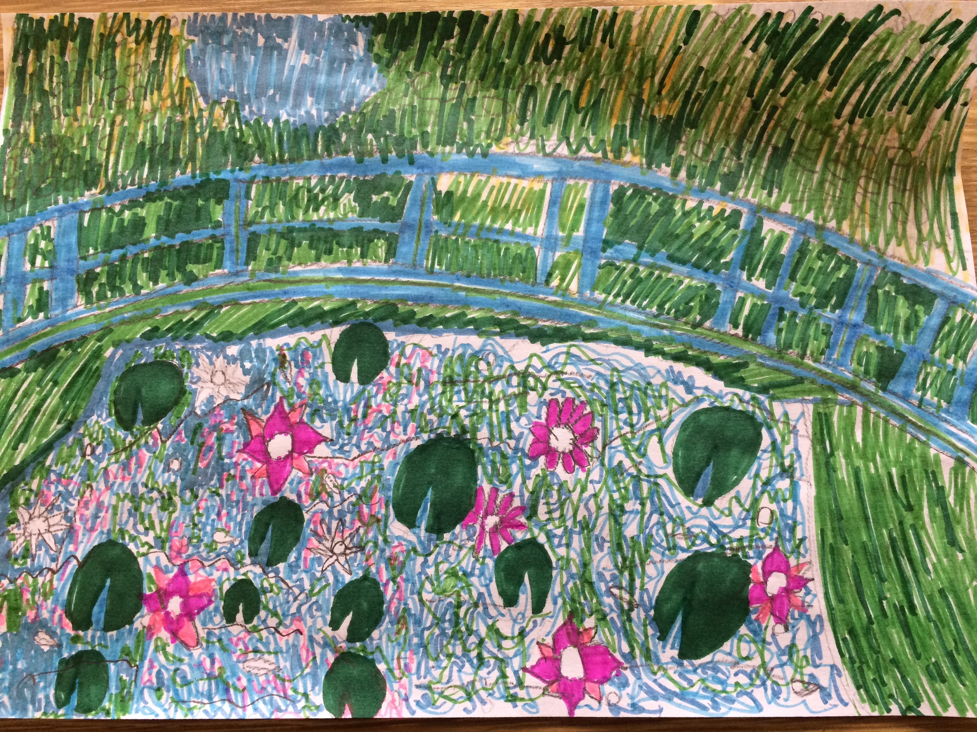 Cash, aged 8, inspired by Claude Monet, 'The Water-Lily Pond'