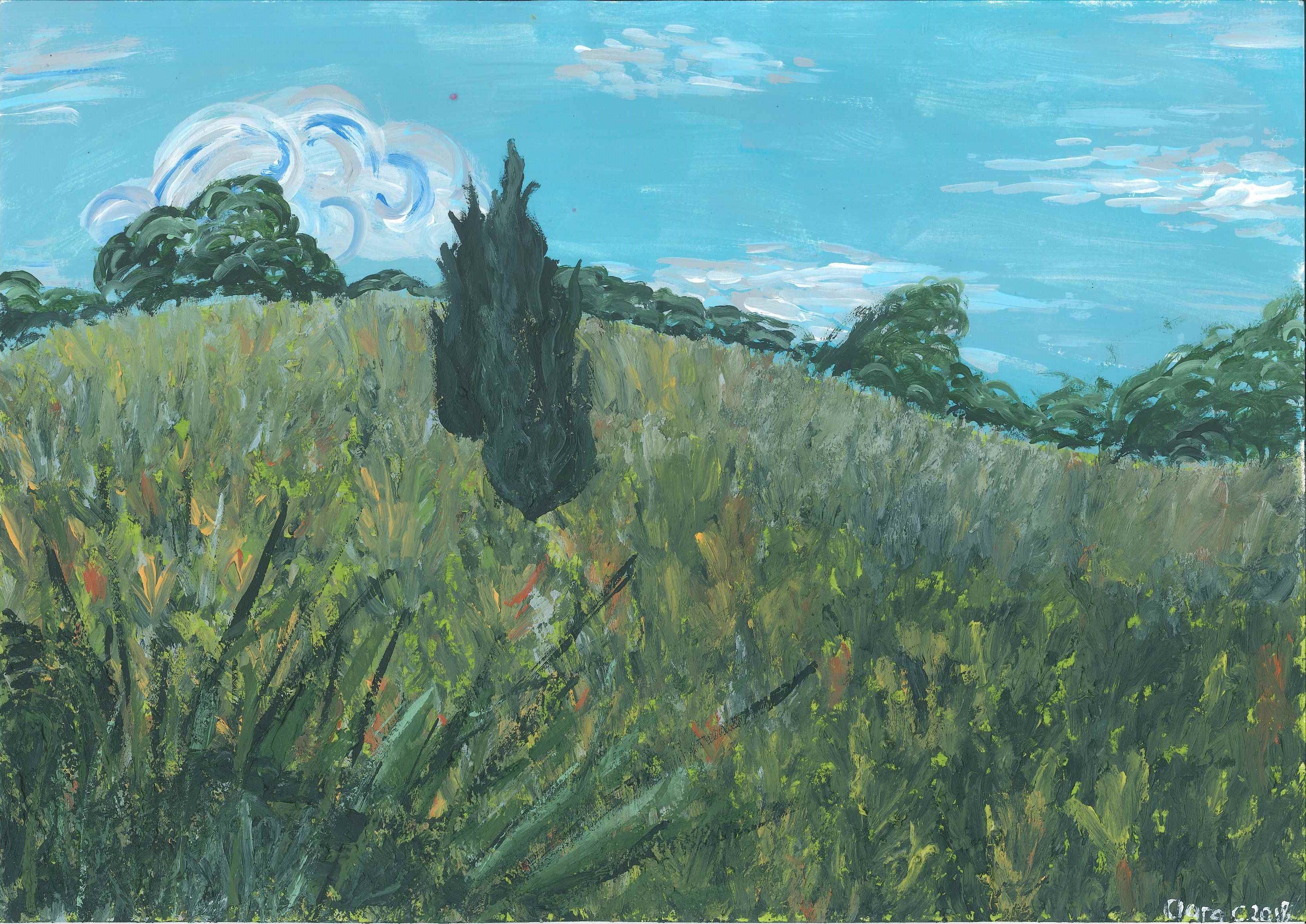 Clara, aged 12, inspired by Vincent van Gogh, 'Long Grass with Butterflies'