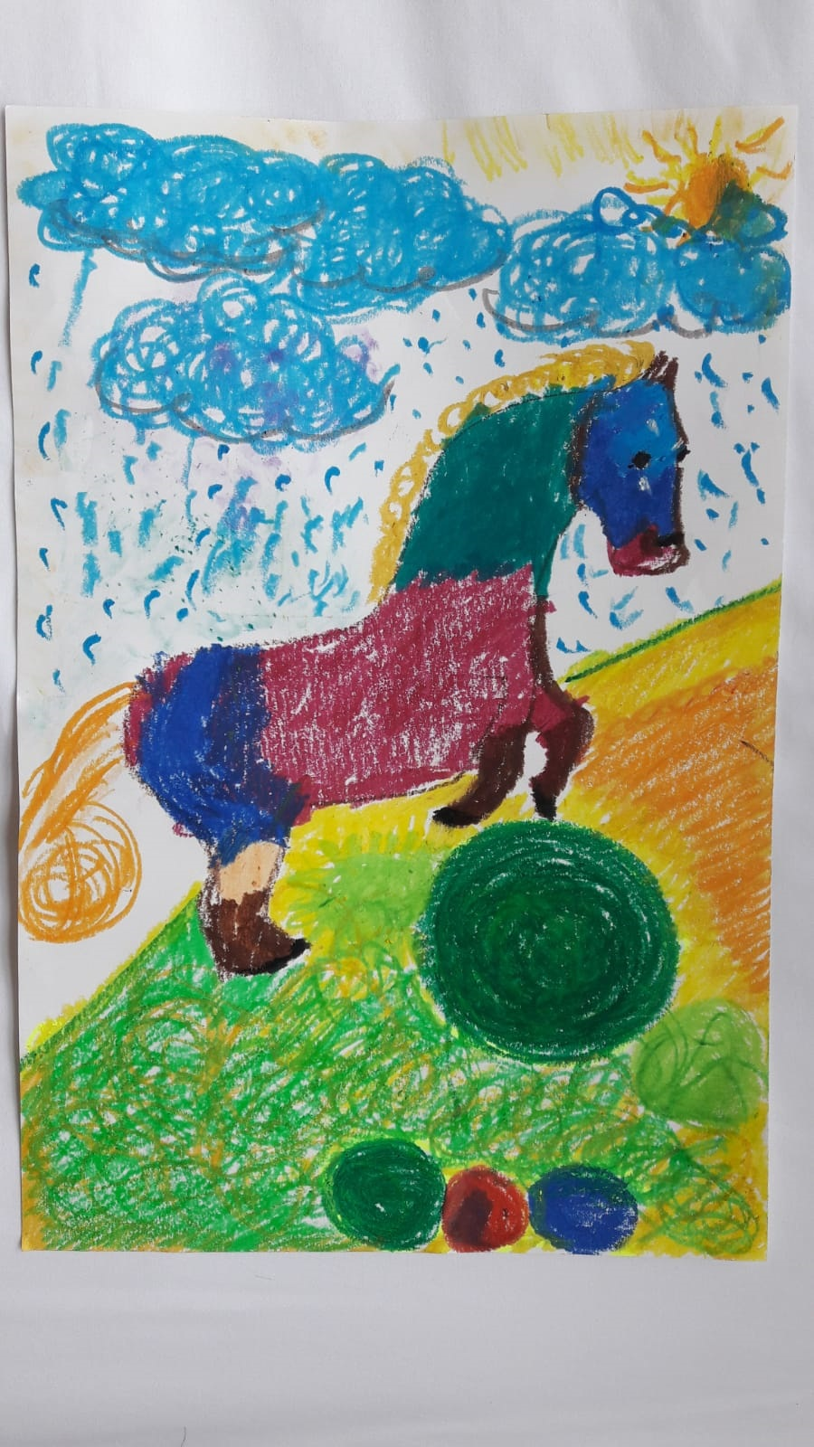 Lucas, aged 3, inspired by George Stubbs, 'Whistlejacket'