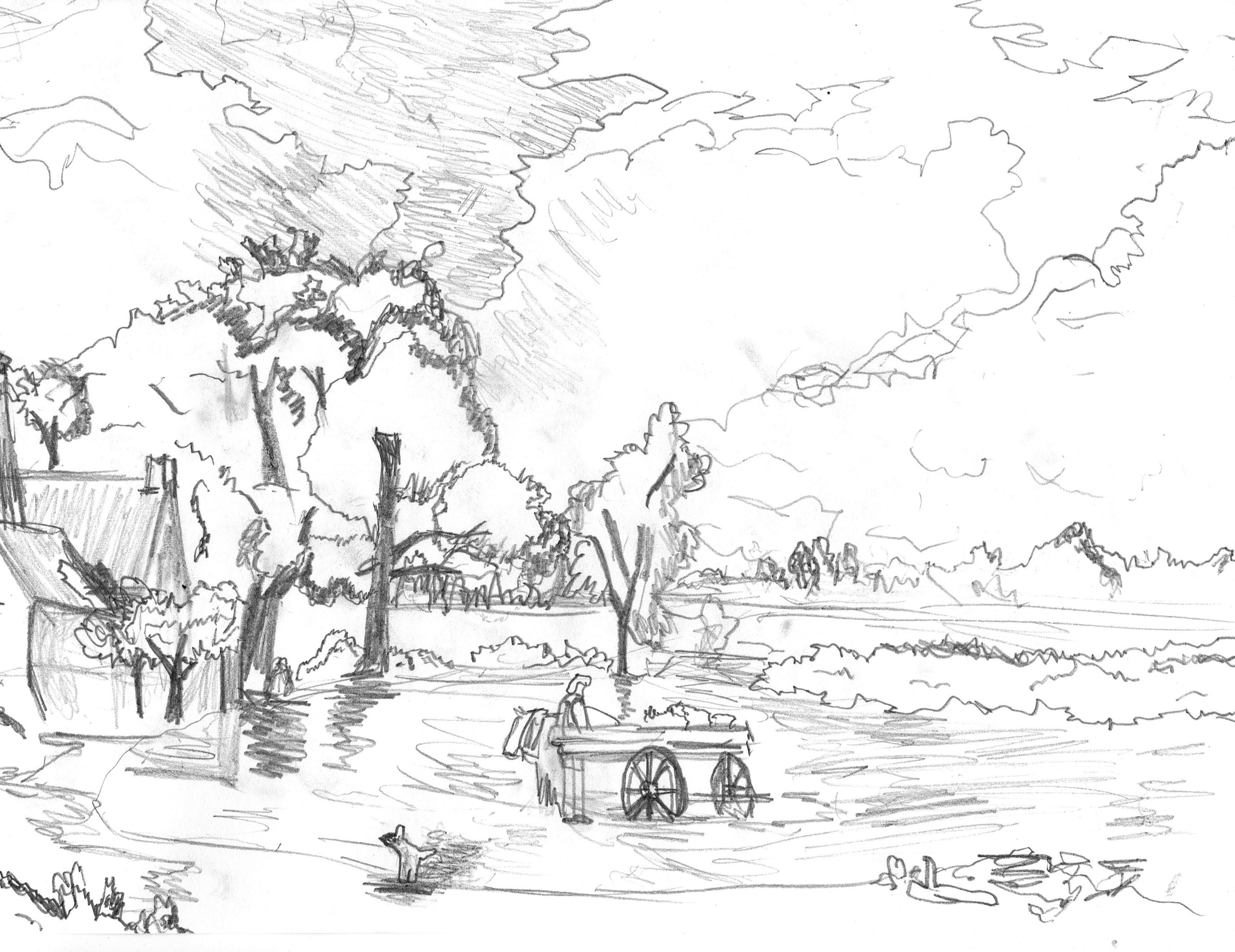 Luis, aged 12, inspired by John Constable, 'The Hay Wain'