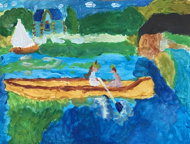 Nathan, aged 5, inspired by Pierre-Auguste  Renoir, 'The Skiff (La Yole)'