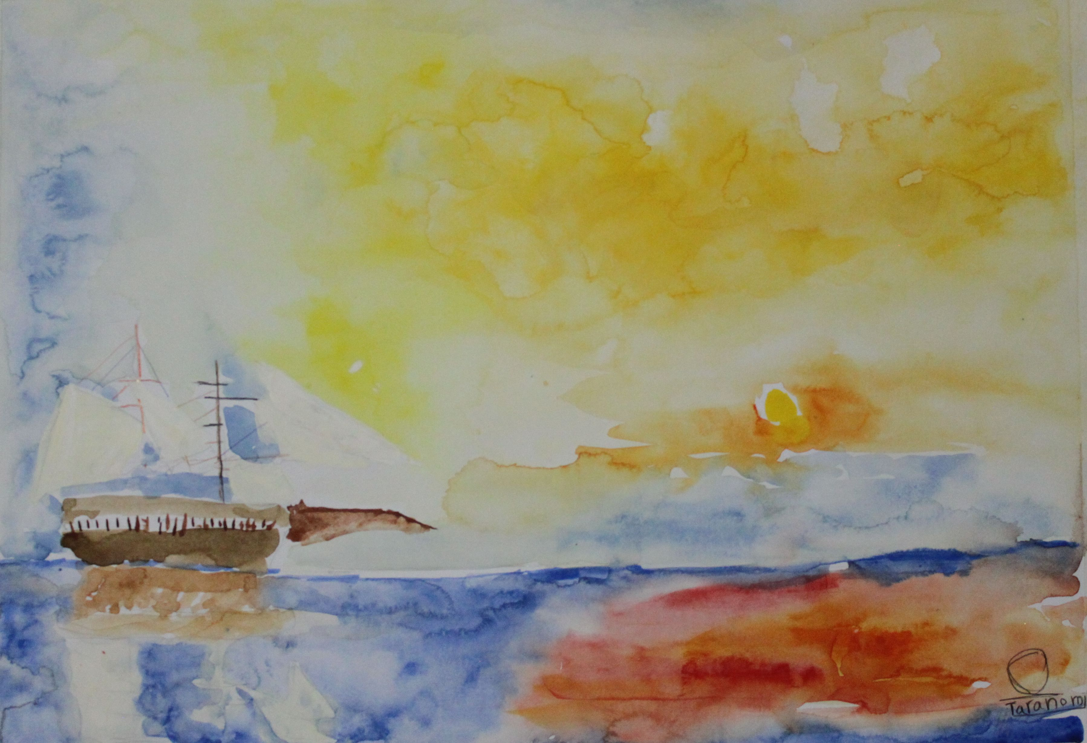 Taranom, aged 9, inspired by Joseph Mallord William Turner, 'The Fighting Temeraire tugged to her last berth to be broken up'