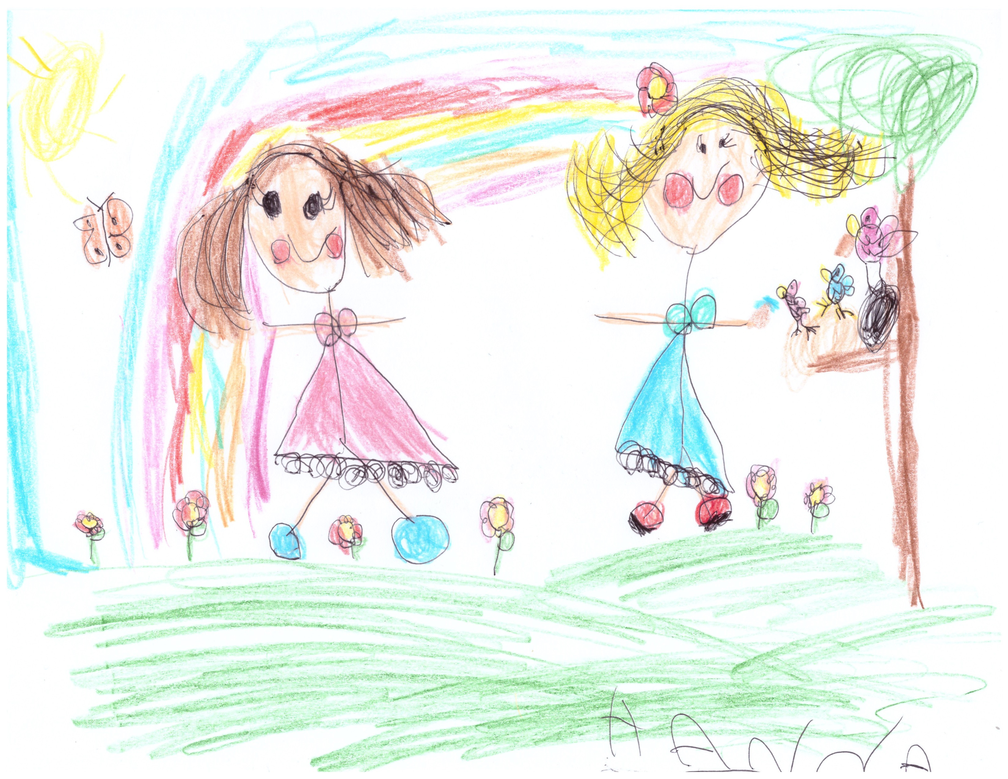 Hanna, aged 6, inspired by Thomas Gainsborough, 'The Painter's Daughters chasing a Butterfly'