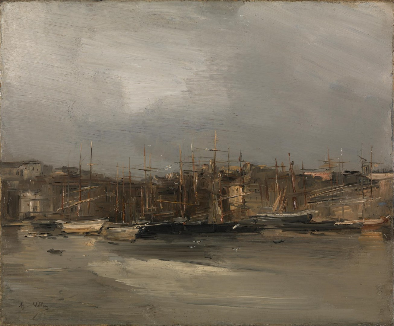 View of the Harbour at Marseilles by Antoine Vollon