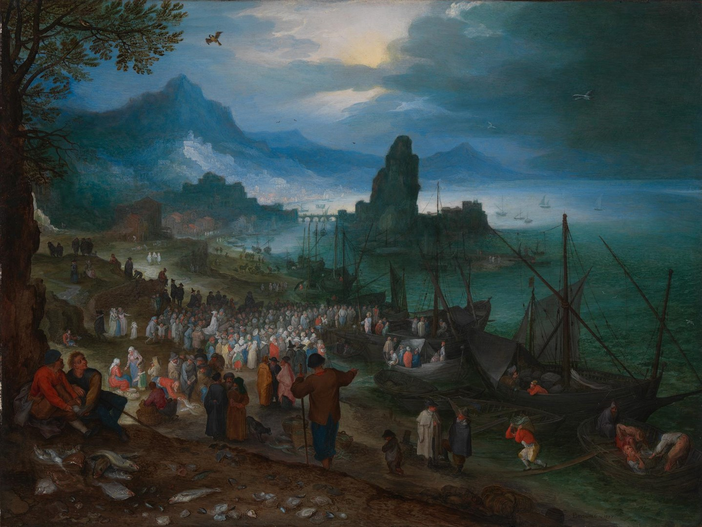 Harbour Scene with Christ preaching by Jan Brueghel the Elder