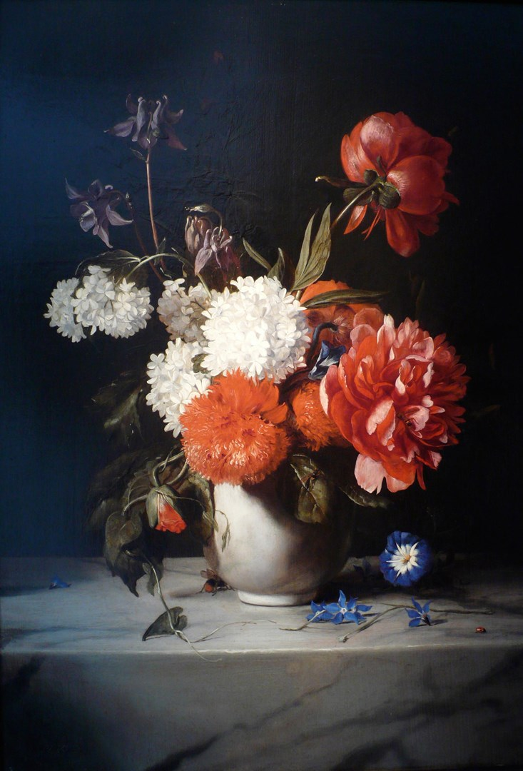 Flowers in a White Stone Vase by Dirck de Bray