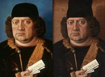 Master of the Mornauer Portrait, 'Portrait of Alexander Mornauer', about 1464-88. Before and after cleaning.