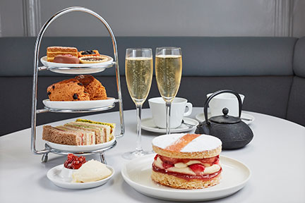 Afternoon tea at the National Gallery Cafe with sandwiches, cakes and sparkling wine