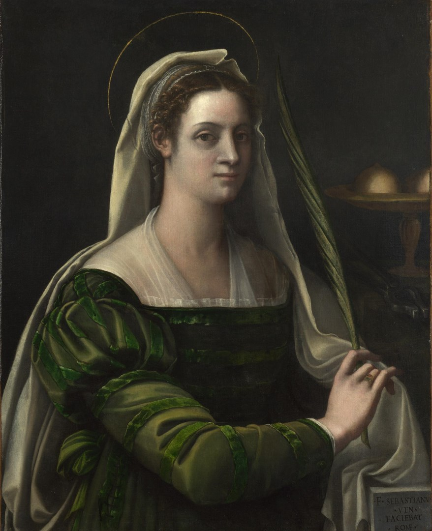 Portrait of a Lady with the Attributes of Saint Agatha by Sebastiano del Piombo