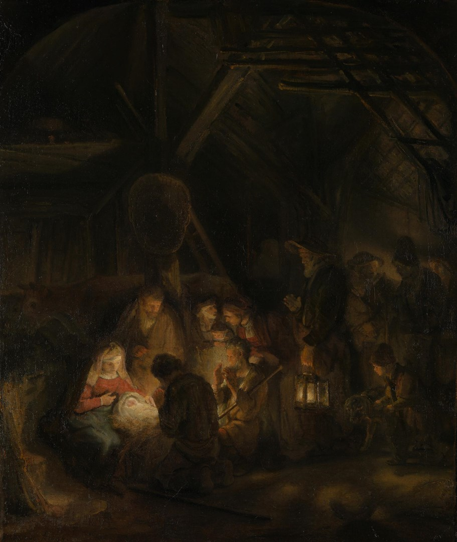 The Adoration of the Shepherds by Pupil of Rembrandt