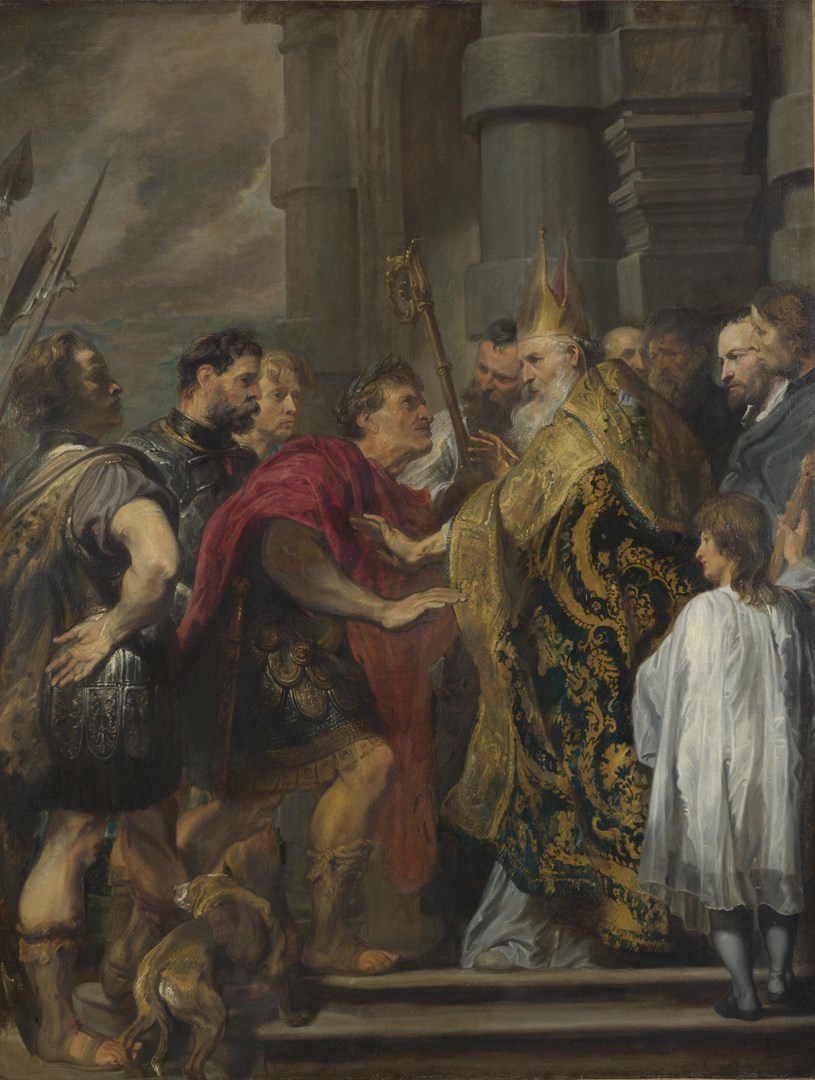St Ambrose barring Theodosius from Milan Cathedral by Anthony van Dyck