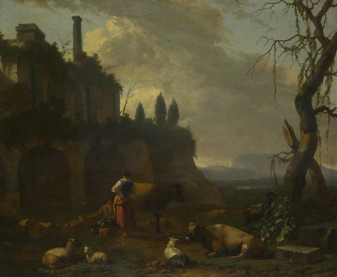 Peasants with Cattle by a Ruin by Abraham Begeijn