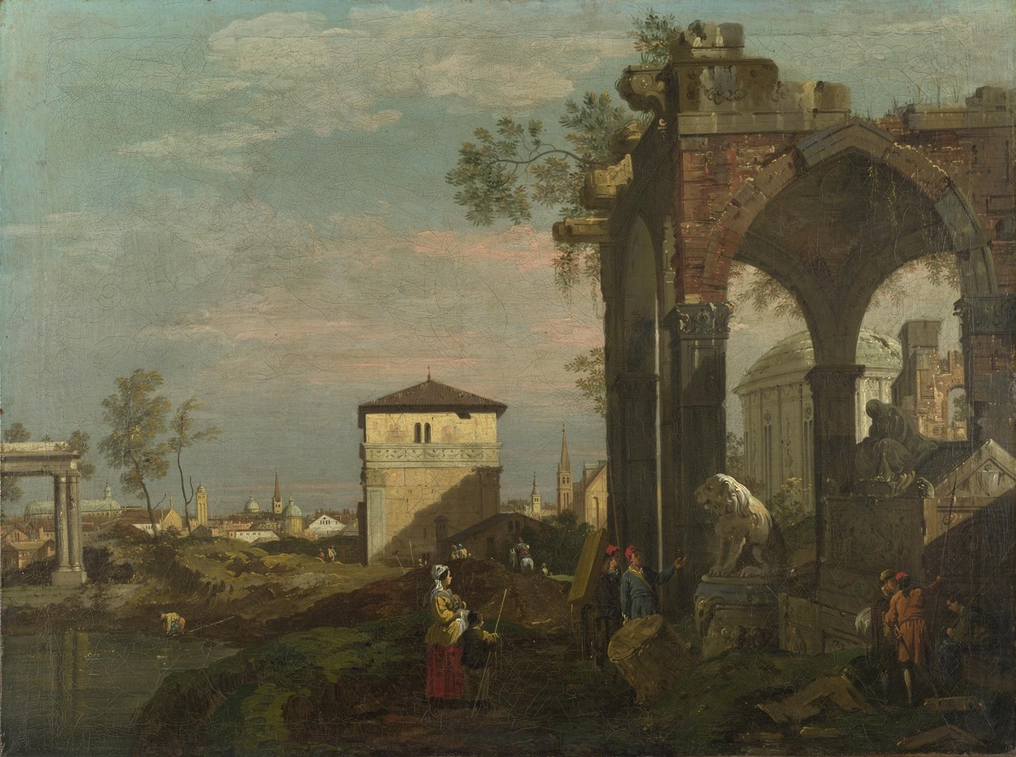 A Caprice Landscape with Ruins by Style of Bernardo Bellotto