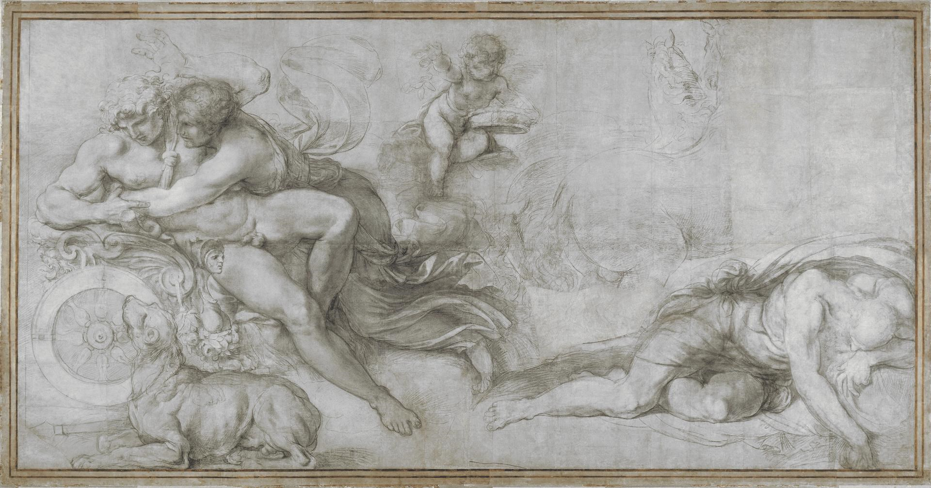 Cephalus carried off by Aurora in her Chariot by Agostino Carracci