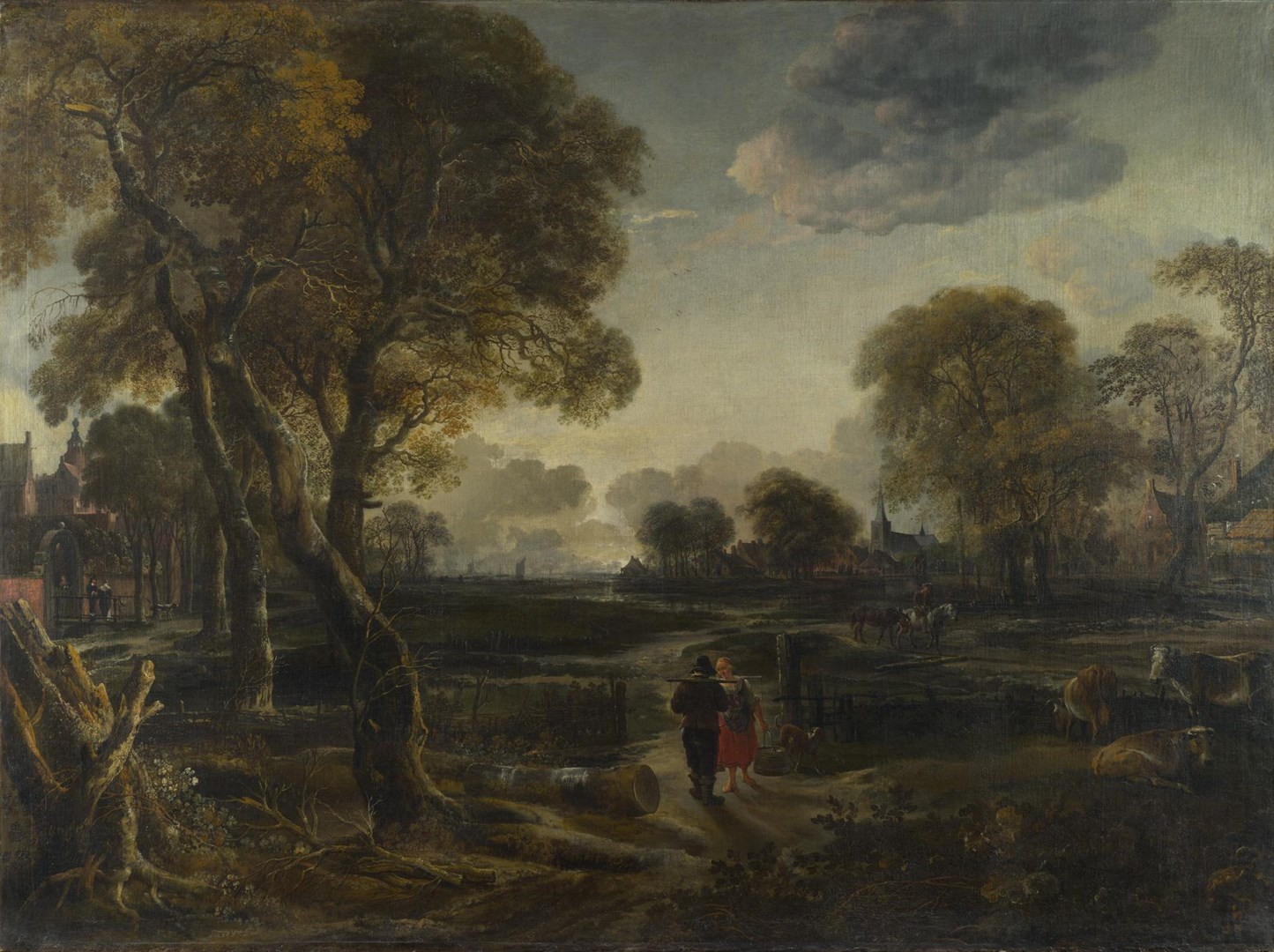 An Evening View near a Village by Aert van der Neer