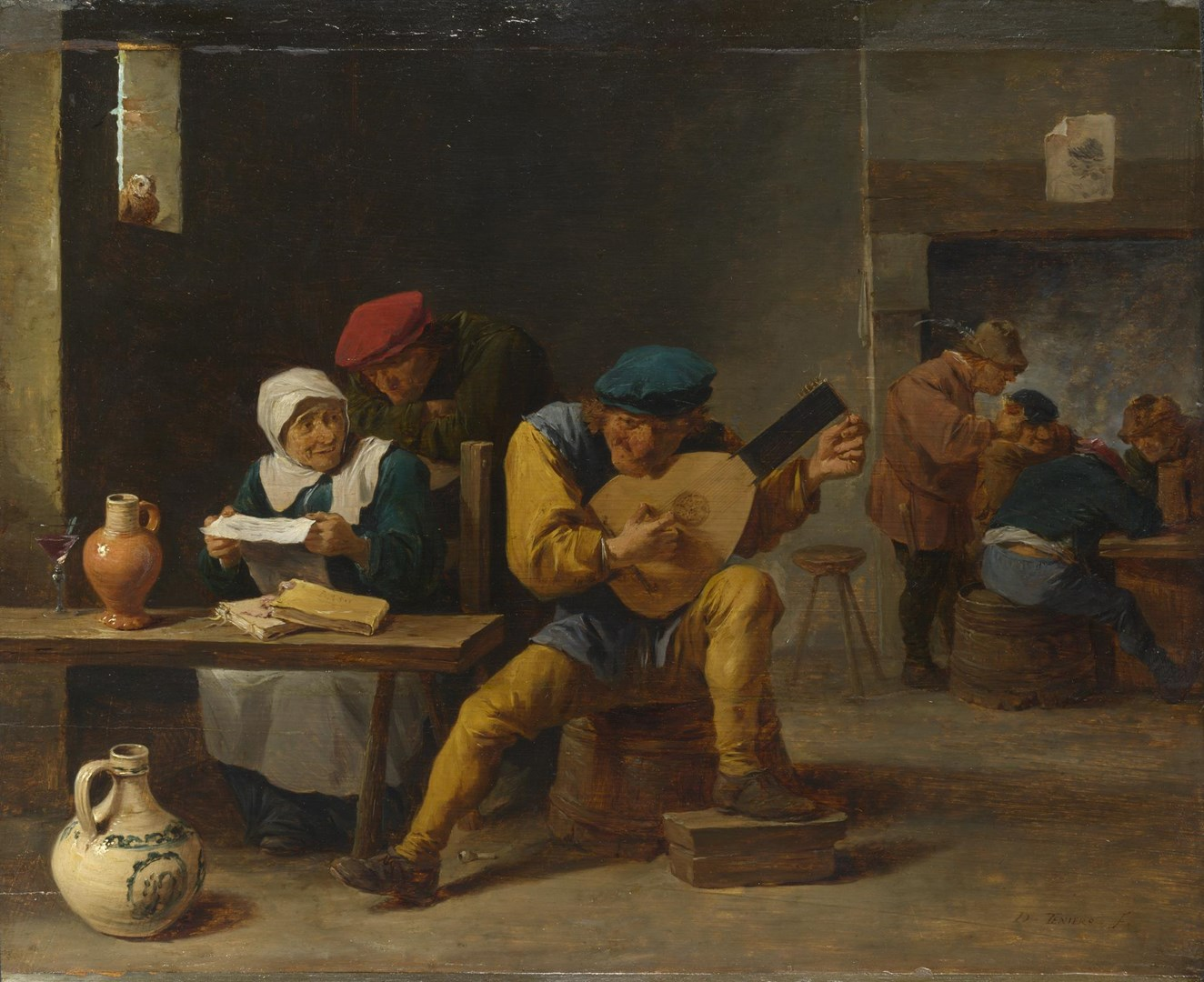 Peasants making Music in an Inn by Studio of David Teniers the Younger