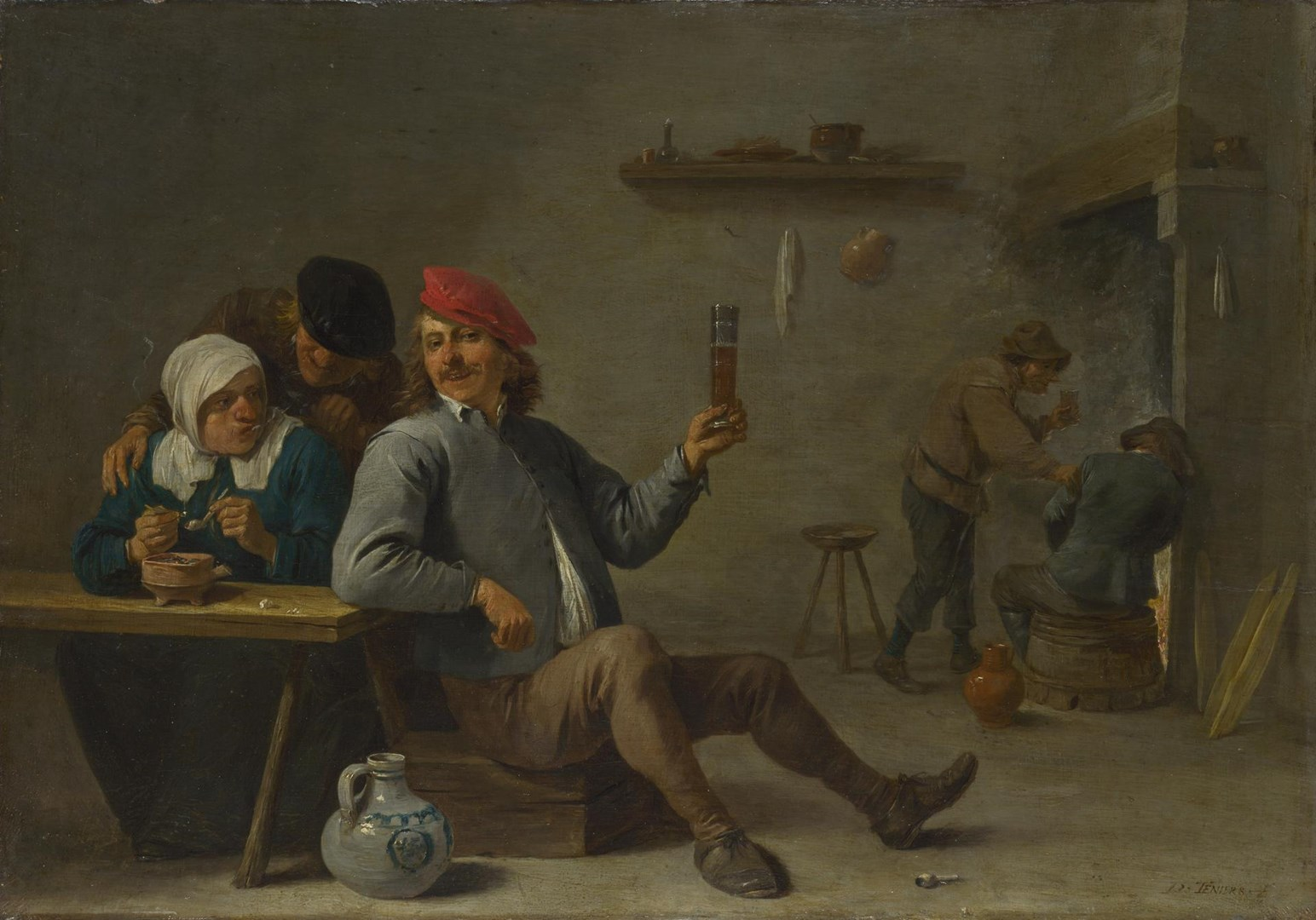 A Man holding a Glass and an Old Woman lighting a Pipe by David Teniers the Younger