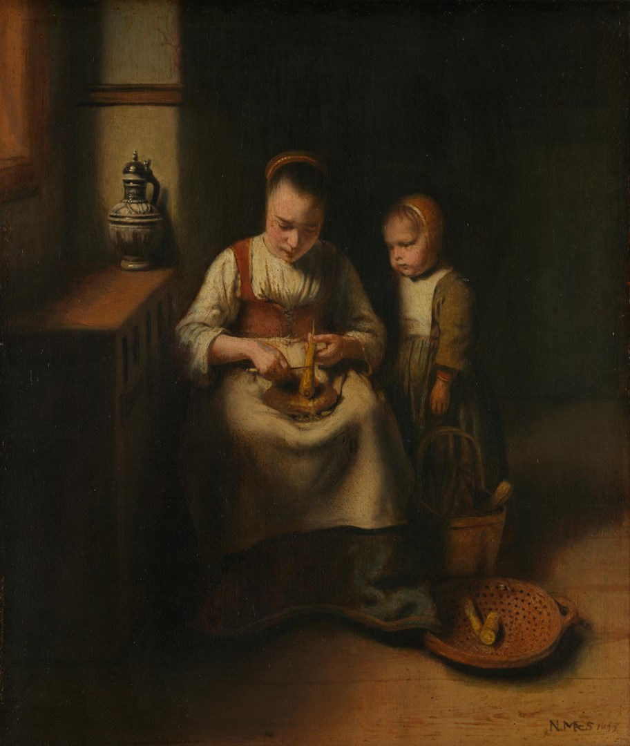 A Woman scraping Parsnips, with a Child standing by her by Nicolaes Maes