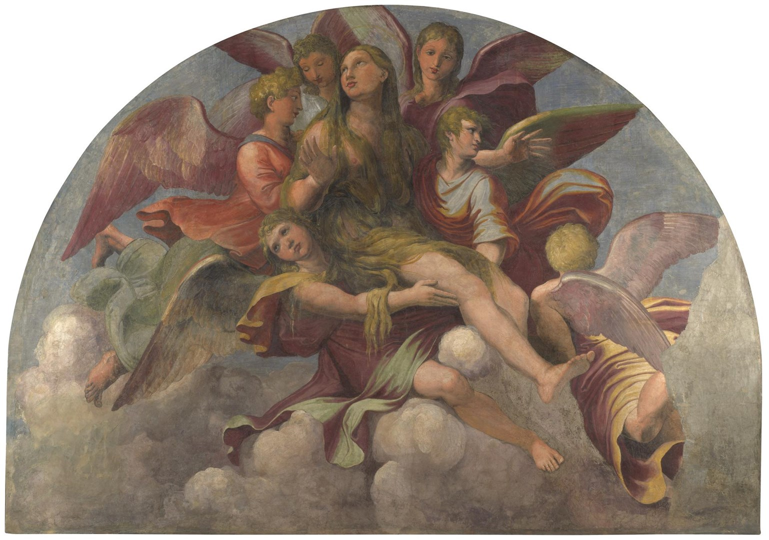Saint Mary Magdalene borne by Angels by Giulio Romano and Gianfrancesco Penni