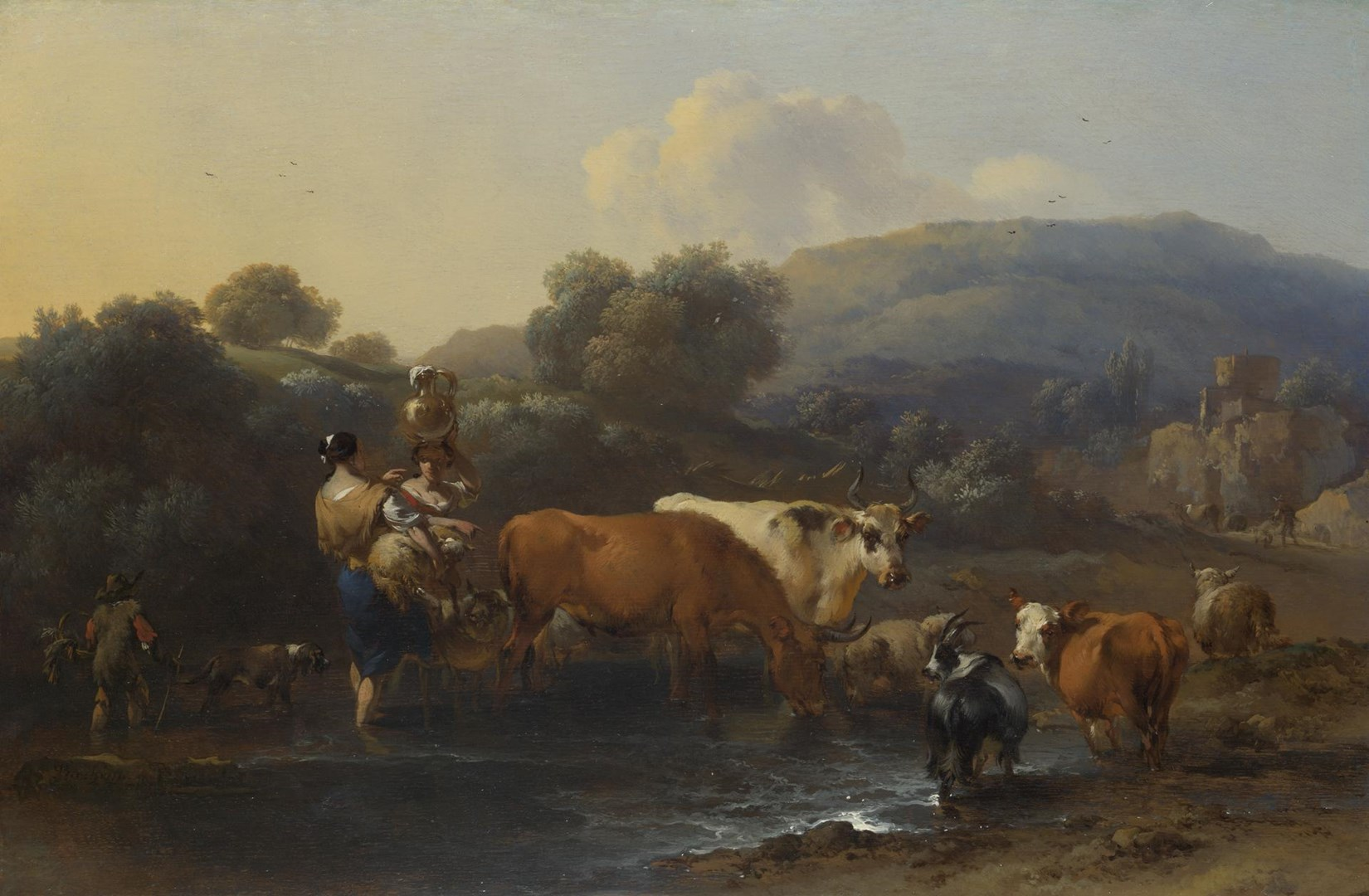 Peasants with Cattle fording a Stream by Nicolaes Berchem