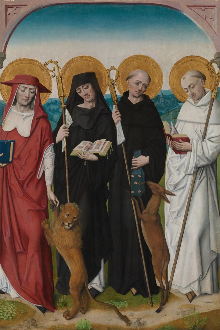 Saints Jerome, Bernard (?), Giles and Benedict (?) by Workshop of the Master of the Life of the Virgin