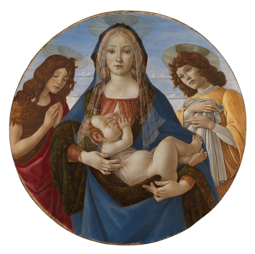 The Virgin and Child with Saint John and an Angel by Workshop of Sandro Botticelli