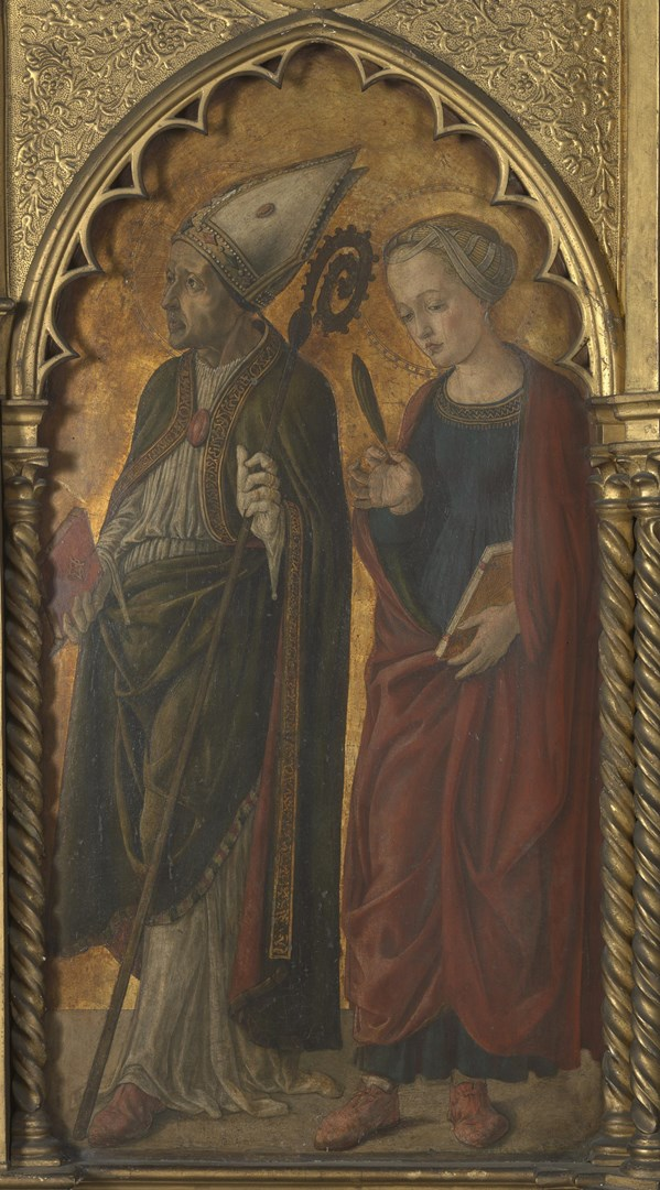 A Bishop (Donatus?) and a Female Martyr (Antilla?) by Probably by Jacopo di Antonio (Master of Pratovecchio?)