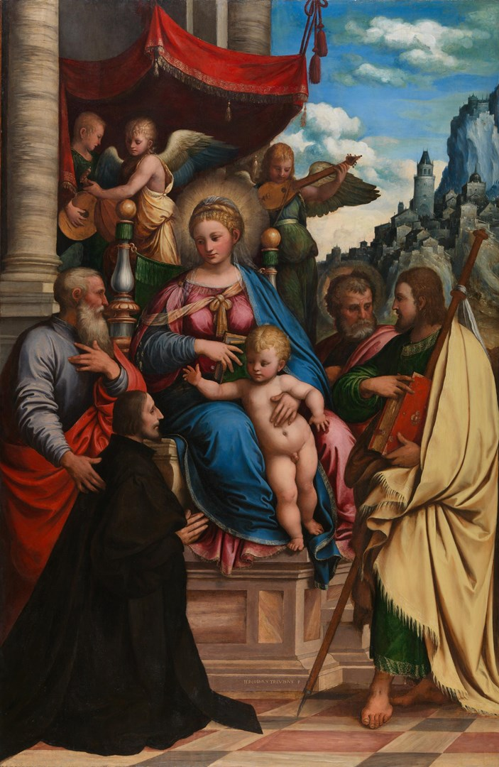 The Virgin and Child with Saints and Filippo Fasanini by Girolamo da Treviso