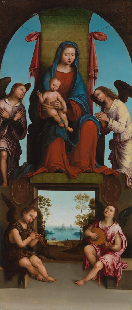 The Virgin and Child enthroned with Angels by Lorenzo Costa