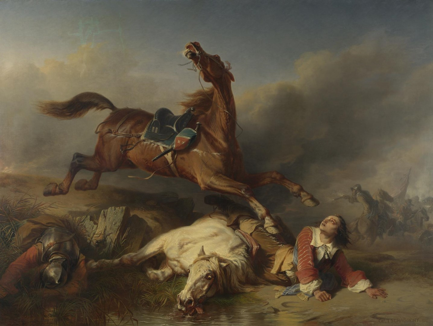 An Episode on the Field of Battle by Charles-Philogène Tschaggeny