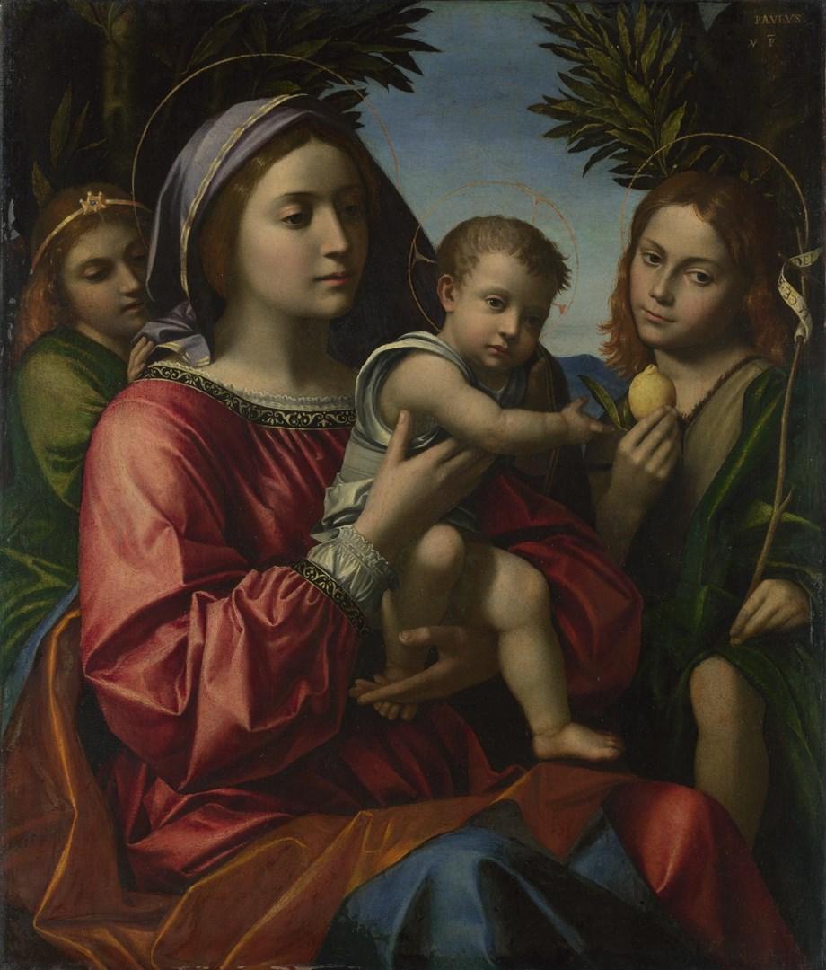 The Virgin and Child with the Baptist and an Angel by Paolo Morando