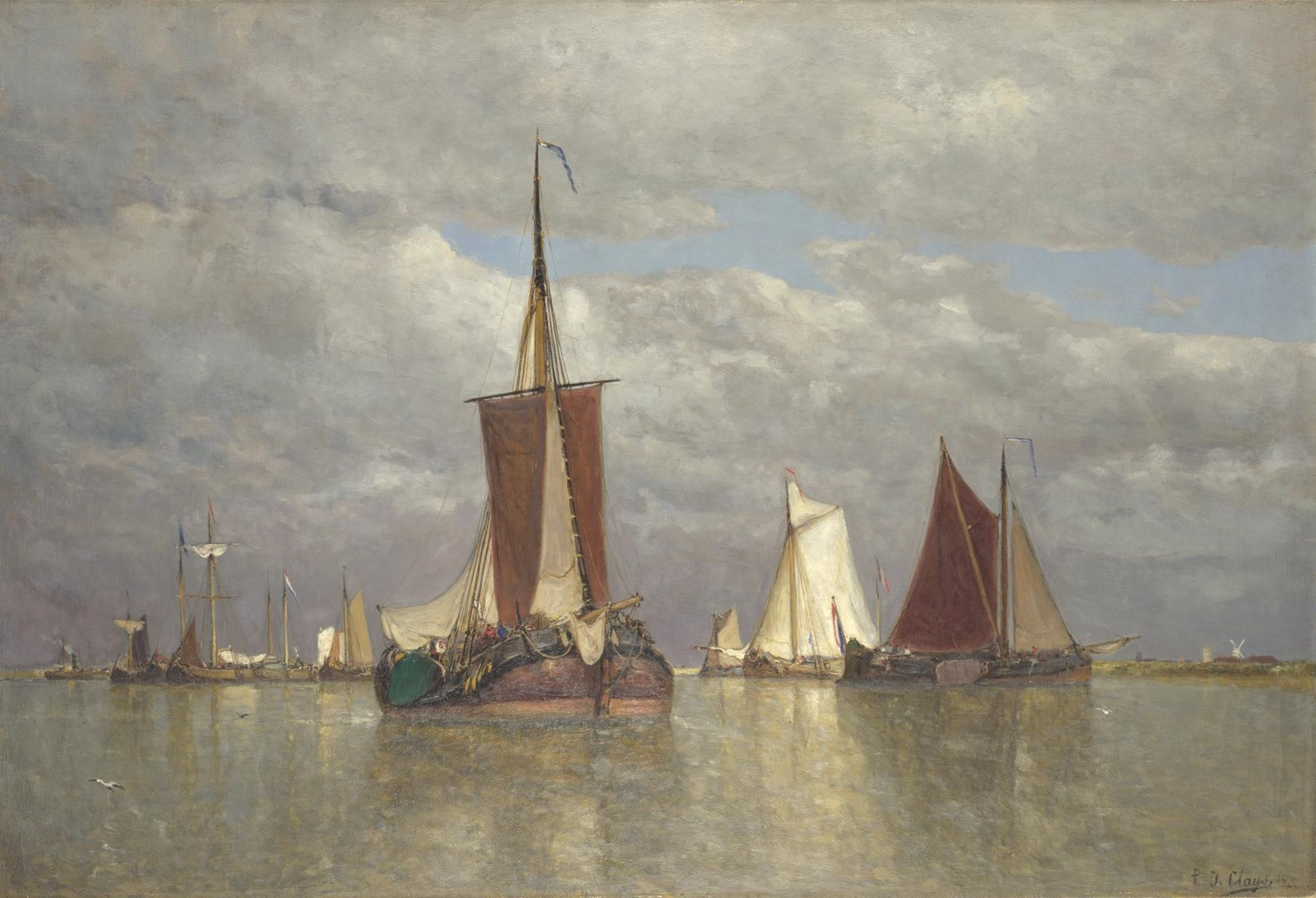 Ships lying near Dordrecht by Paul Jean Clays
