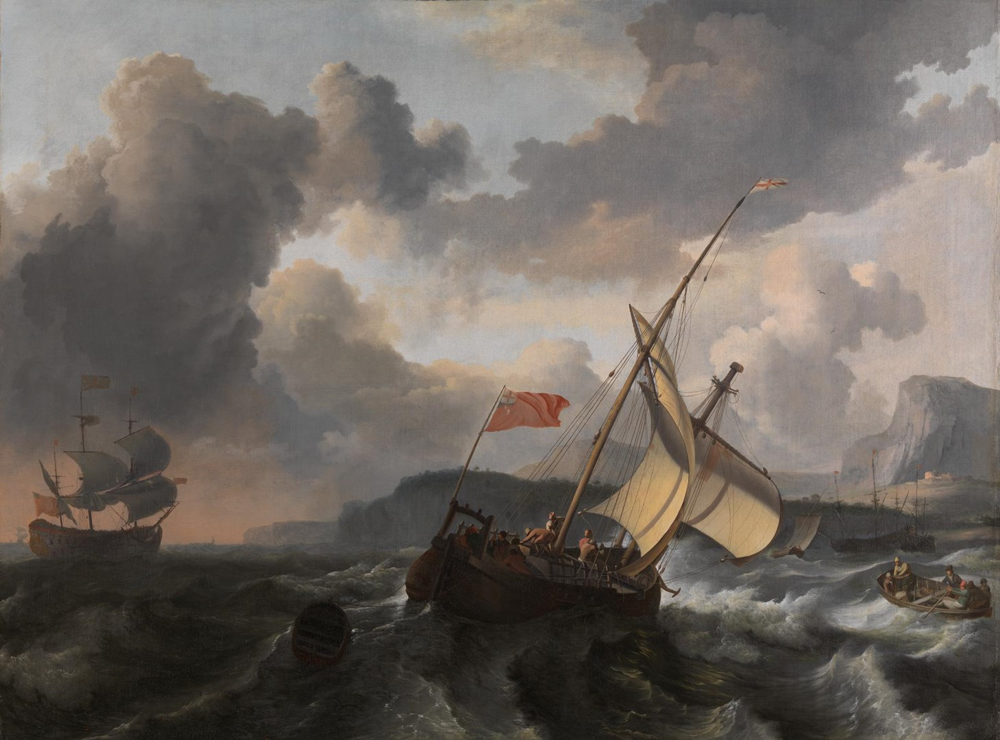 An English Vessel and a Man-of-war in a Rough Sea by Ludolf Bakhuizen