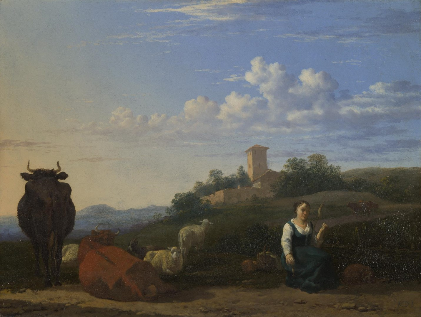 A Woman with Cattle and Sheep in an Italian Landscape by Karel Dujardin
