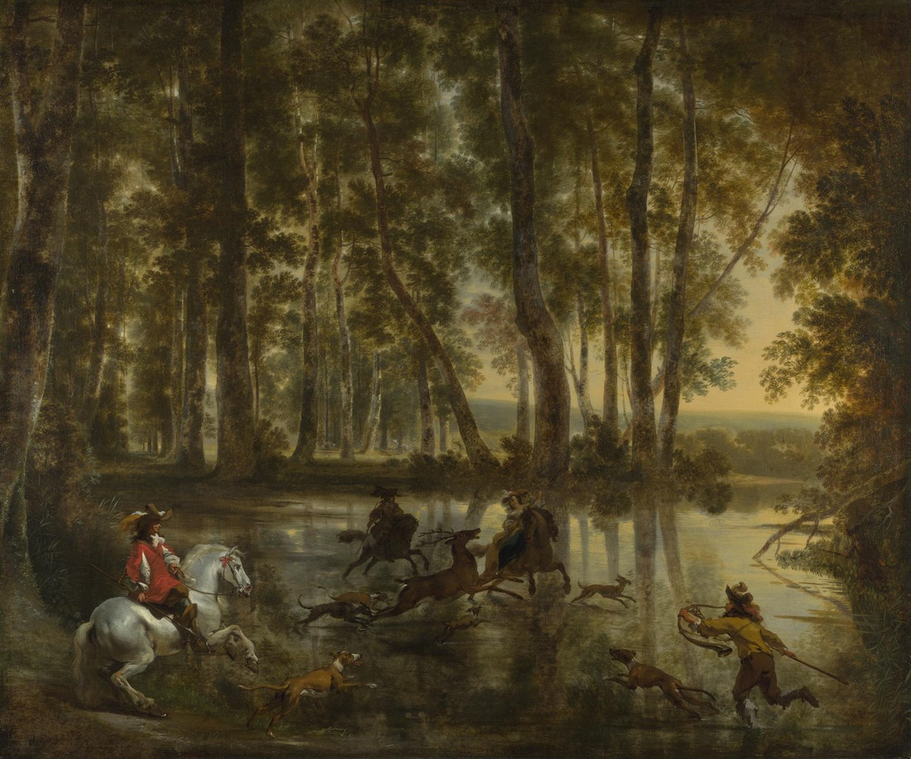 A Stag Hunt in a Forest by Jan Hackaert and Nicolaes Berchem