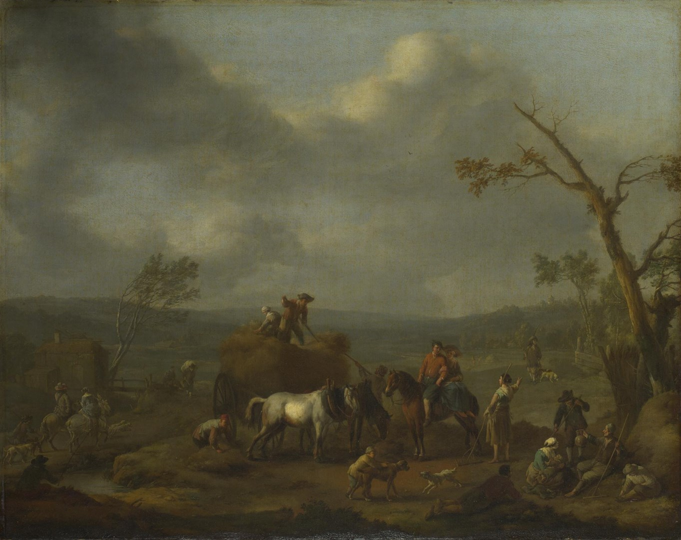 Peasants loading a Hay Cart by Jan Lingelbach