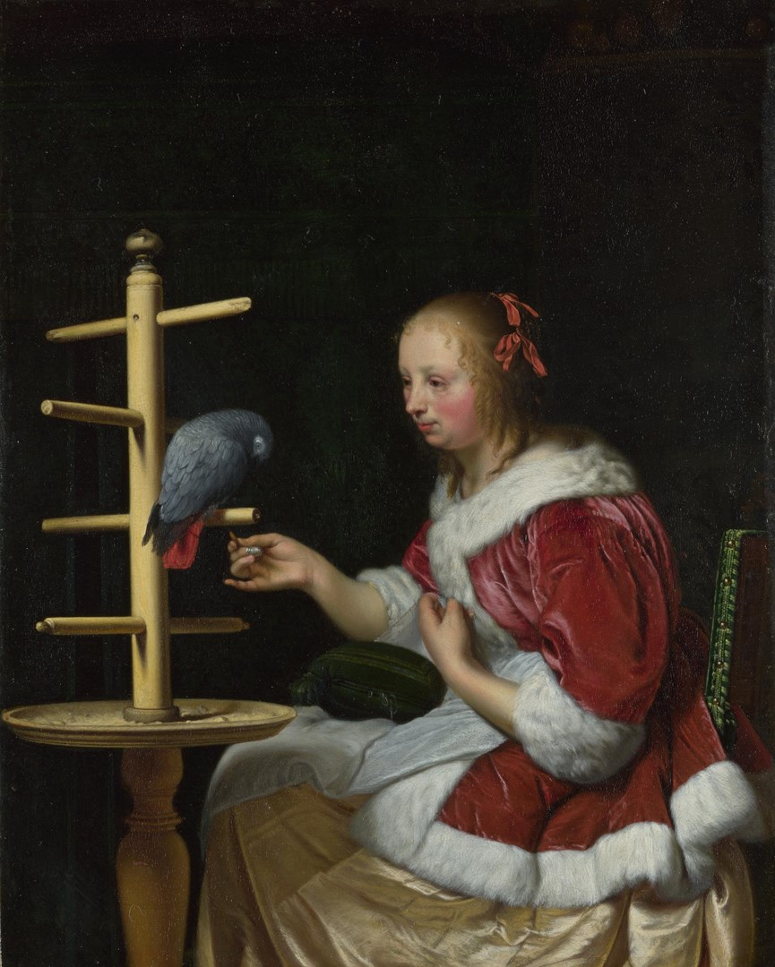 A Woman in a Red Jacket feeding a Parrot by Frans van Mieris the Elder