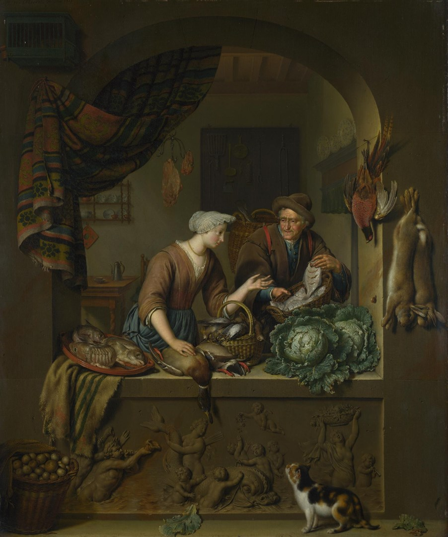 A Woman and a Fish-pedlar in a Kitchen by Willem van Mieris