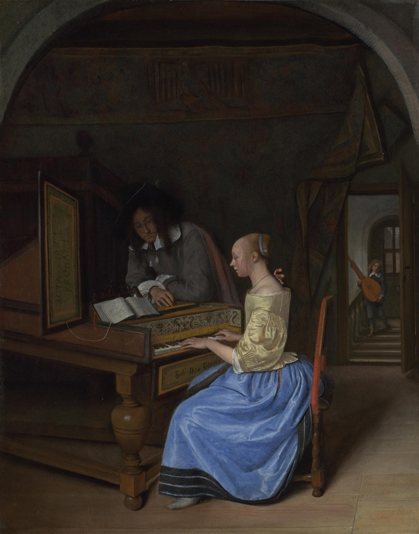 A Young Woman playing a Harpsichord to a Young Man by Jan Steen