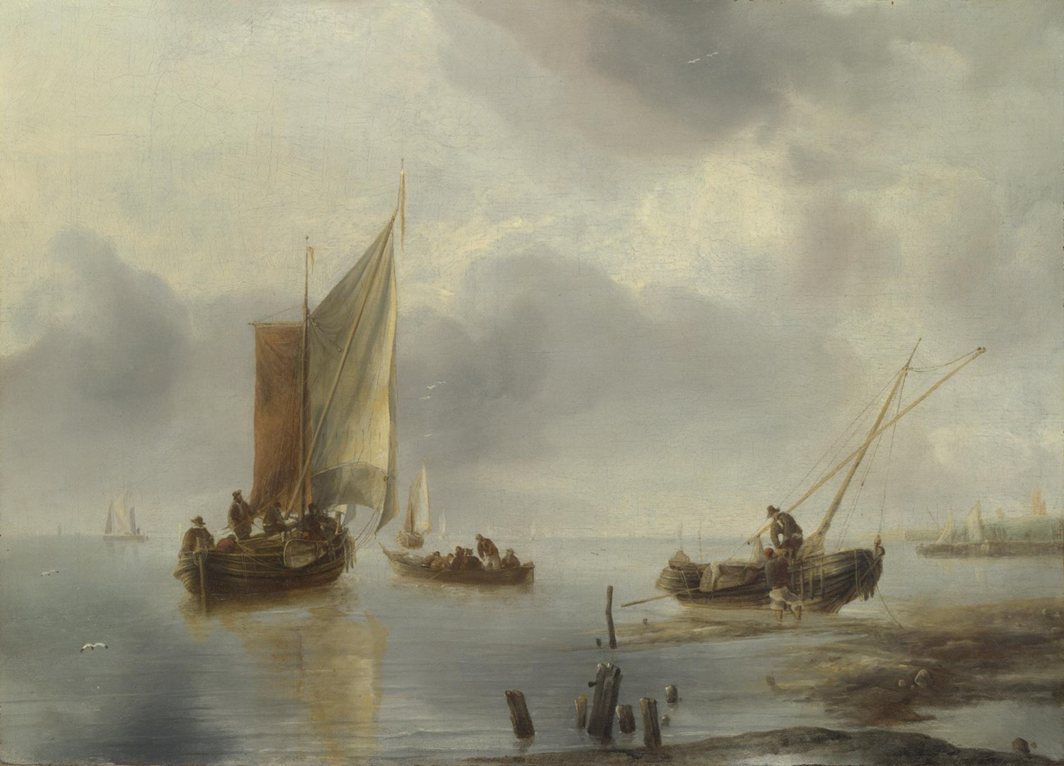 A Small Vessel in Light Airs, and Another Ashore by Jan van de Cappelle