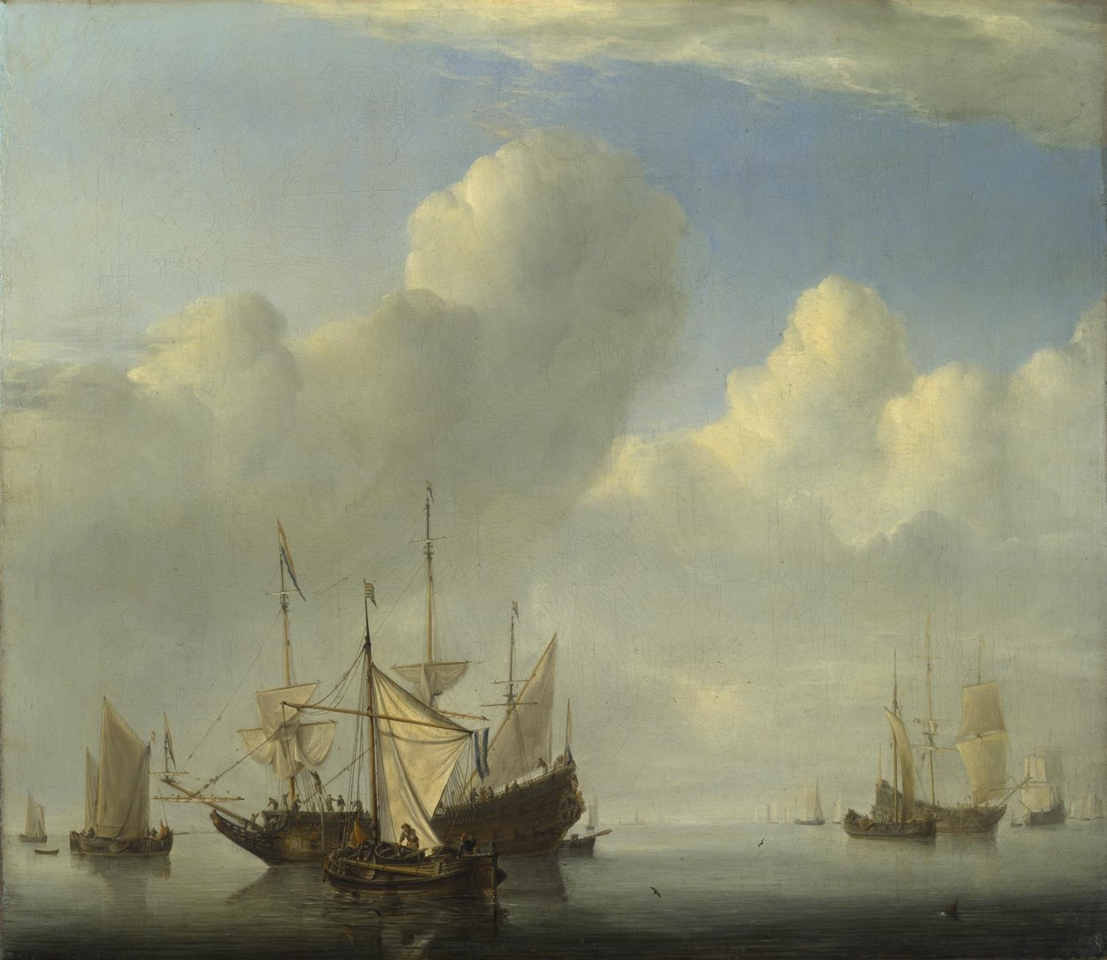 A Dutch Ship coming to Anchor by Willem van de Velde