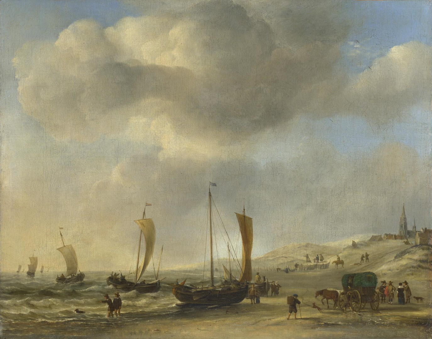 The Shore at Scheveningen by Willem van de Velde