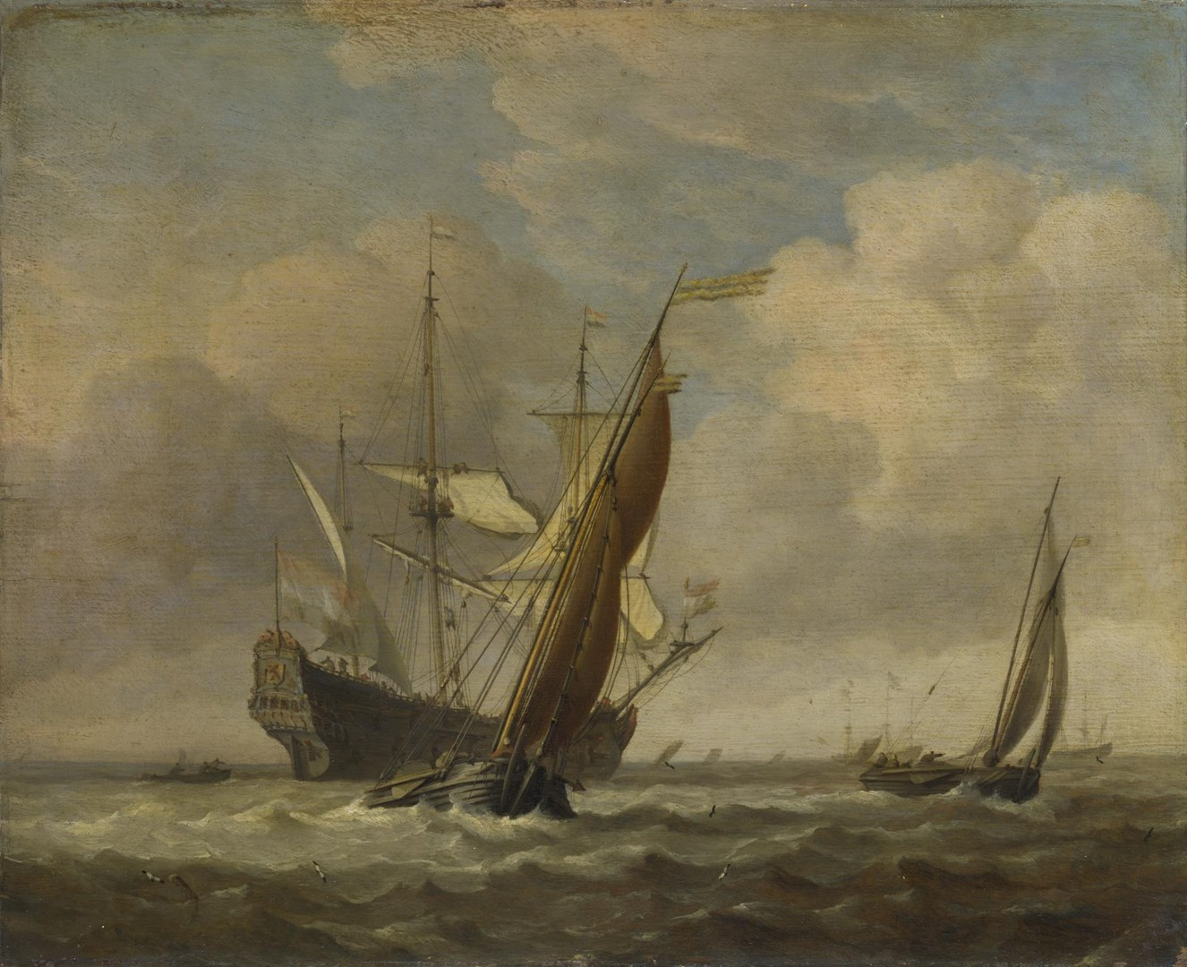 Two Small Vessels and a Dutch Man-of-War in a Breeze by Willem van de Velde