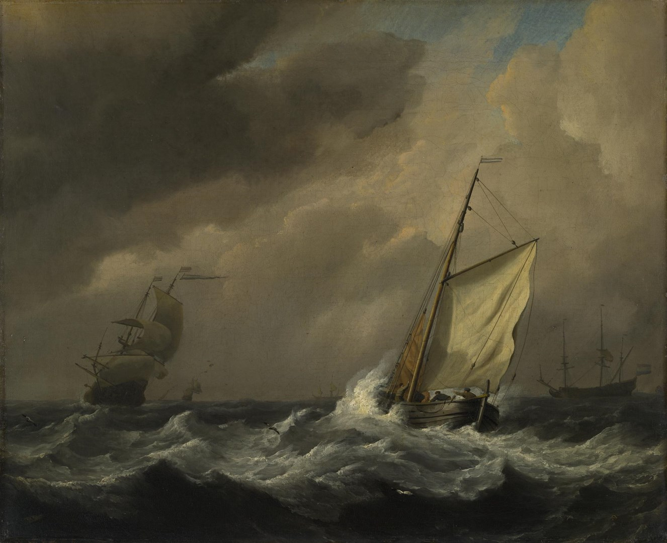 A Small Dutch Vessel close-hauled in a Strong Breeze by Willem van de Velde